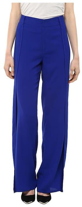 Harpa Women Regular Fit Mid Rise Solid Pants - Blue