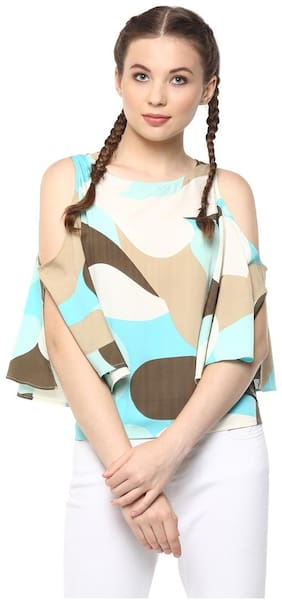Harpa Turquoise 3/4 Sleeve Regular Fit Casual Women's Tops