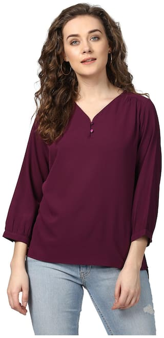 Harpa Women Polyester Solid - Regular top Maroon