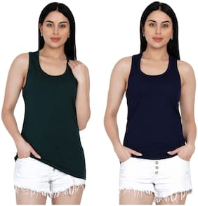 Women Solid Cotton Tank Top/Vest (Pack of 2)