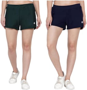 Women Solid Cotton Shorts (Pack of 2)