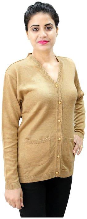 HAUTEMODA Women Solid Regular fit Coat - Beige