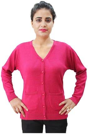 HAUTEMODA Women Solid Regular fit Coat - Pink