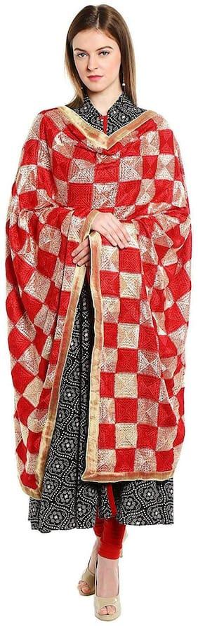 HAUTEMODA  Women's Red & Golden Heavy Phulkari Embroidered Party wear Dupatta - 2.25 m