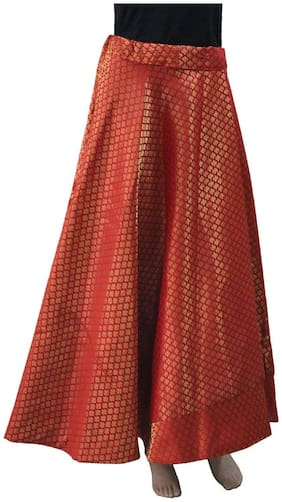 HAUTEMODA Printed A-line skirt Maxi Skirt - Red