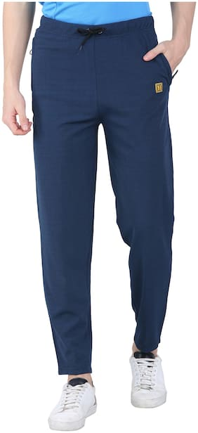 Headzup Polyester Men Track Pants Navy Blue
