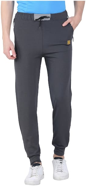 Headzup Solid Polyester Track Pant For Men Color Grey