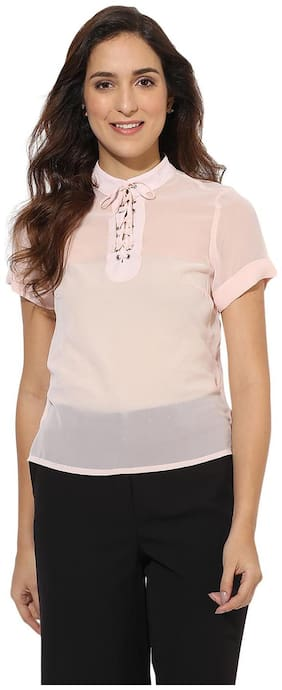 HEATHER HUES Women Regular Fit Solid Shirt - Pink
