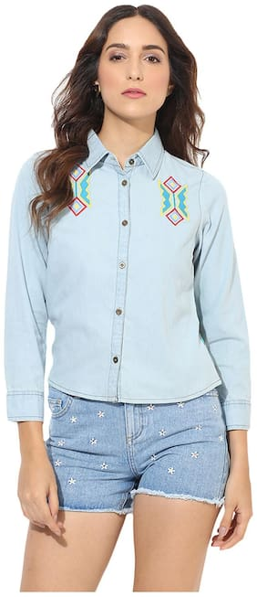 HEATHER HUES Women Regular fit Self design Shirt - Blue