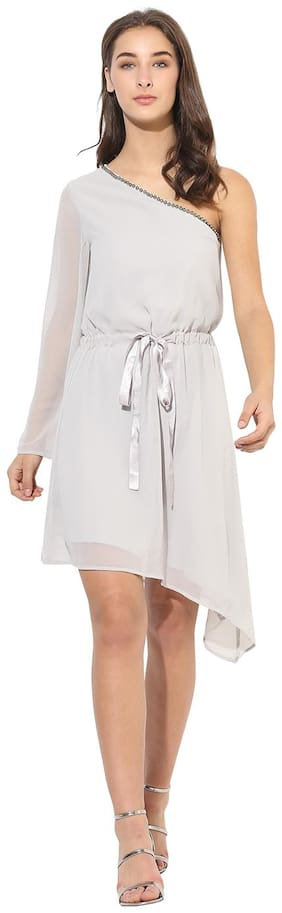 HEATHER HUES Polyester Solid A-line Dress Grey