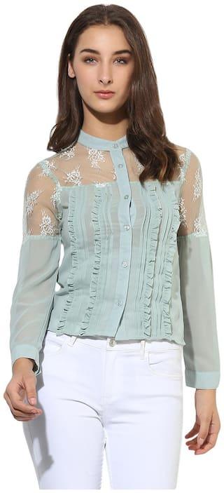 HEATHER HUES Women Regular fit Solid Shirt - Blue