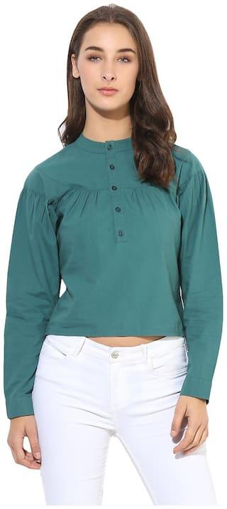 HEATHER HUES Women Regular Fit Solid Shirt - Green