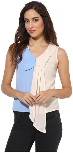 HEATHER HUES Women Regular Fit Colorblocked Shirt - Blue