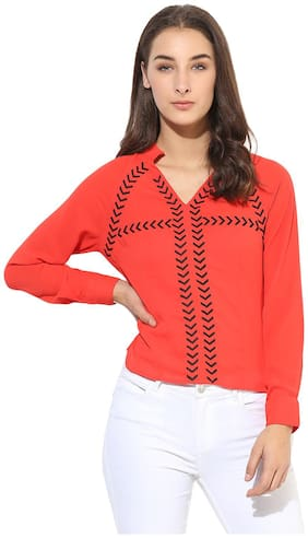 HEATHER HUES Women Regular Fit Self Design Shirt - Red