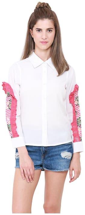 HEATHER HUES Women Regular Fit Solid Shirt - White