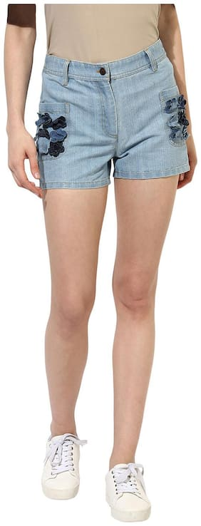 HEATHER HUES Women Solid Regular shorts - Blue