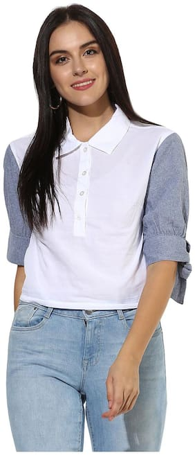 HEATHER HUES Women Regular Fit Colorblocked Shirt - White