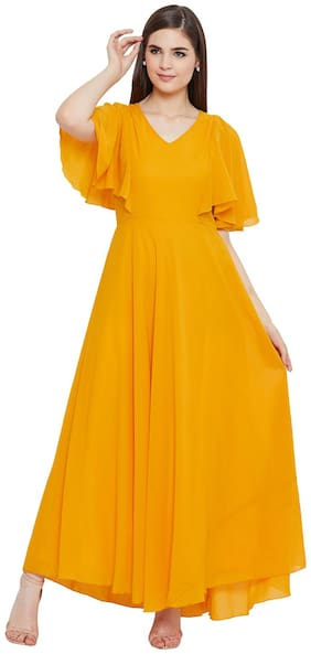 HELLO DESIGN Yellow Solid A-line dress