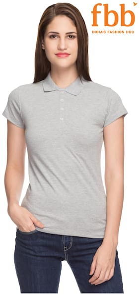 168d07669 Hey Solid Women s Grey Polo T-Shirt