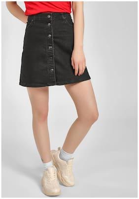 Hey Solid Straight skirt Midi Skirt - Black