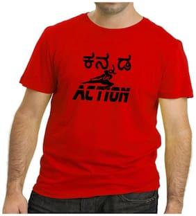 HEYUZE Men Regular fit Round neck Printed T-Shirt - Red