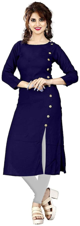 HF Holyday Fashion Women Navy Blue Solid Straight Kurti