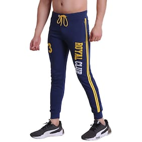 HiFlyers Men Cotton Printed Joggers Navy Blue