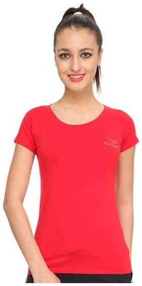 HiFlyers Women Red Slim fit Round neck Cotton T shirt