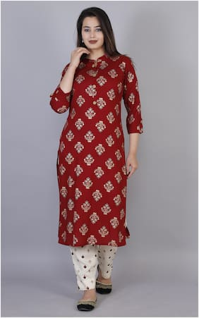 HIGHLIGHT FASHION EXPORT Women Red Floral Straight Kurta With Pants