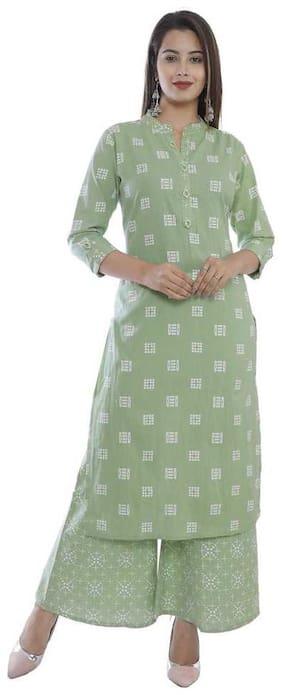 HIGHLIGHT FASHION EXPORT Women Green Printed Straight Kurta With Palazzo