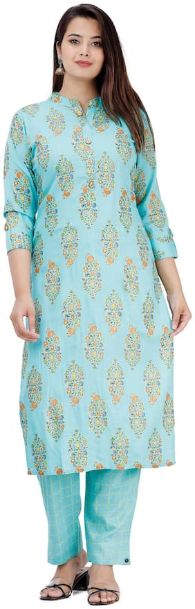 HIGHLIGHT FASHION EXPORT Women Blue Floral Straight Kurta With Pants