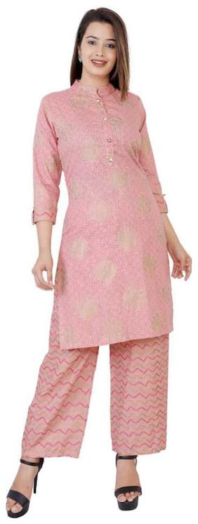 HIGHLIGHT FASHION EXPORT Women Pink Printed Straight Kurta With Palazzo