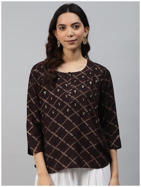 Women Embellished Round Neck Top