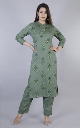 HIGHLIGHT FASHION EXPORT Women Green Floral Straight Kurta With Pants