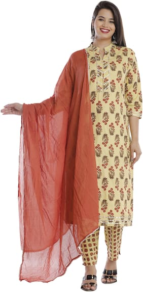 HIGHLIGHT FASHION EXPORT Women Yellow Floral Straight Kurta With Pants And Dupatta