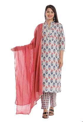 HIGHLIGHT FASHION EXPORT Women Grey Floral Straight Kurta With Pants And Dupatta