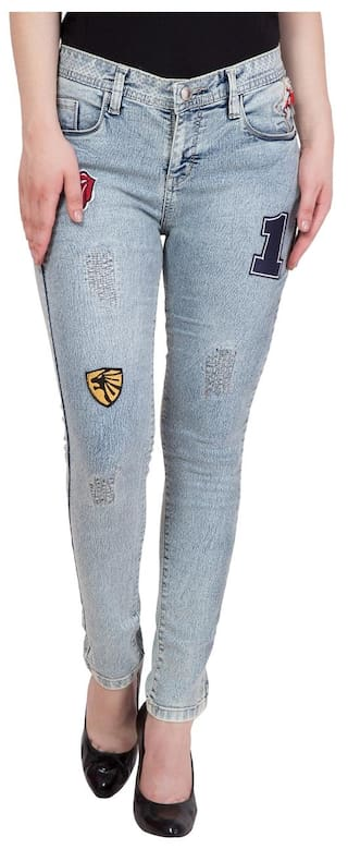 Hip Cover Women's Light Blue Faded Patch Work Jeans