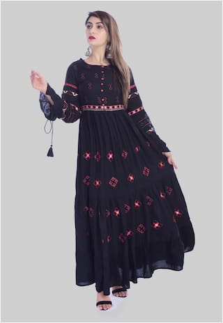 His & Her Women Black Embroidered Anarkali Kurta