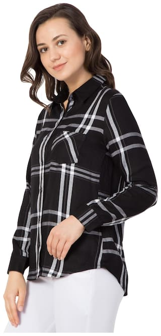 Women;Rayon Hive91 Shirts for Casual Black Check Shirt HIEqwrIB