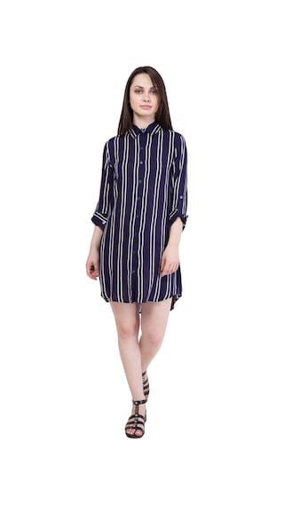 Hive91 Striped Rayon Design Blue Roll Dress Shirt Full Fabric in Sleeve and Up rTqArwO6