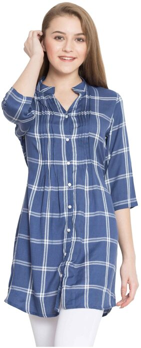 Hive91 Blue Checkered Tunic for Women made of Rayon