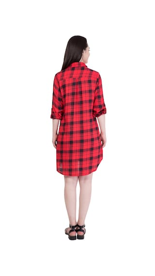 Rayon Shirt Fabric Long Red Dress in Hive91 Checkered w1qAY7x1t