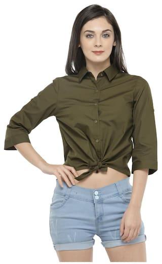 Hive91 Crop Shirt for Women Olive Green Color -Tiger Zinda Hai Katrina kaif Style