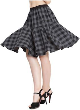 Hive91 Grey Checkered Short Skirts for Women;Fabric;COTTON Elastic Clouser