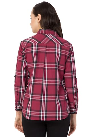 for Women;Cotton Shirt Checkered Casual Hive91 Maroon Shirt cPpCqya