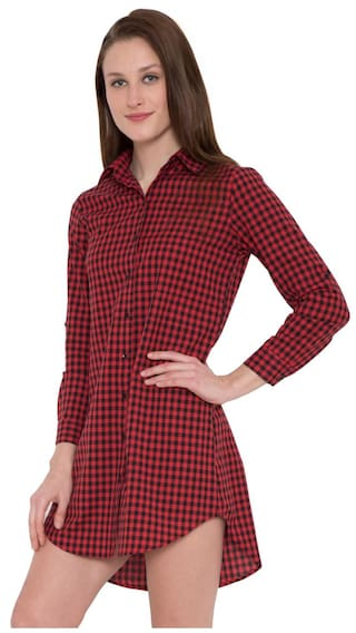 Hive91 Red and White Checkered Shirt Dress for Wome, Roll Up Sleeve, Made by Cotton Fabric