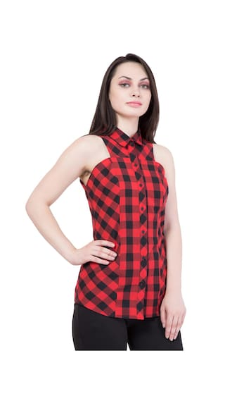 Hive91 Red and Black Checkered Shirts for Women