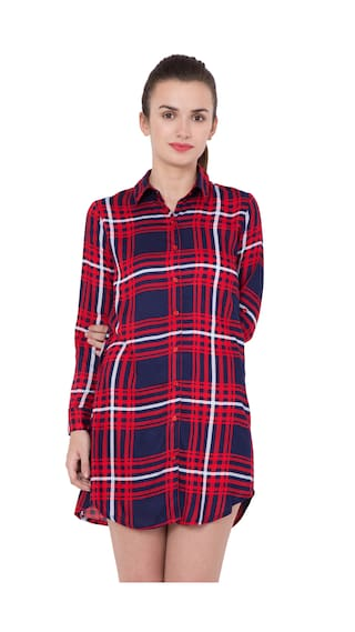 Hive91 Red Checkered Long Shirts for Women;Rayon Fabric with Foldup Sleeve