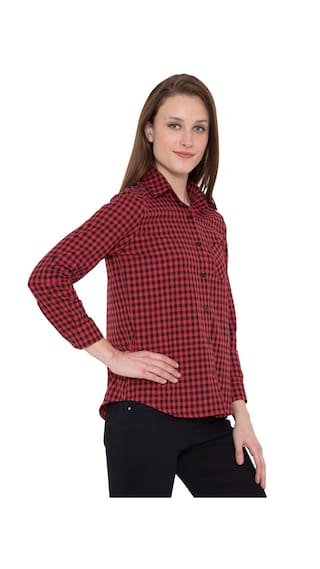 Hive91 Red Check Shirts for Women, Cotton Casual Shirt
