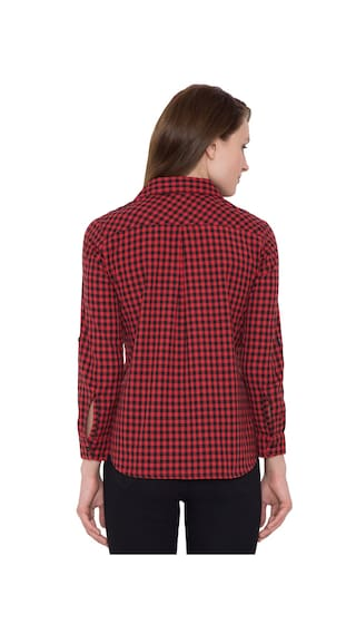 Women Casual Hive91 Shirts Red Check Shirt Cotton for zrYqIYwxT